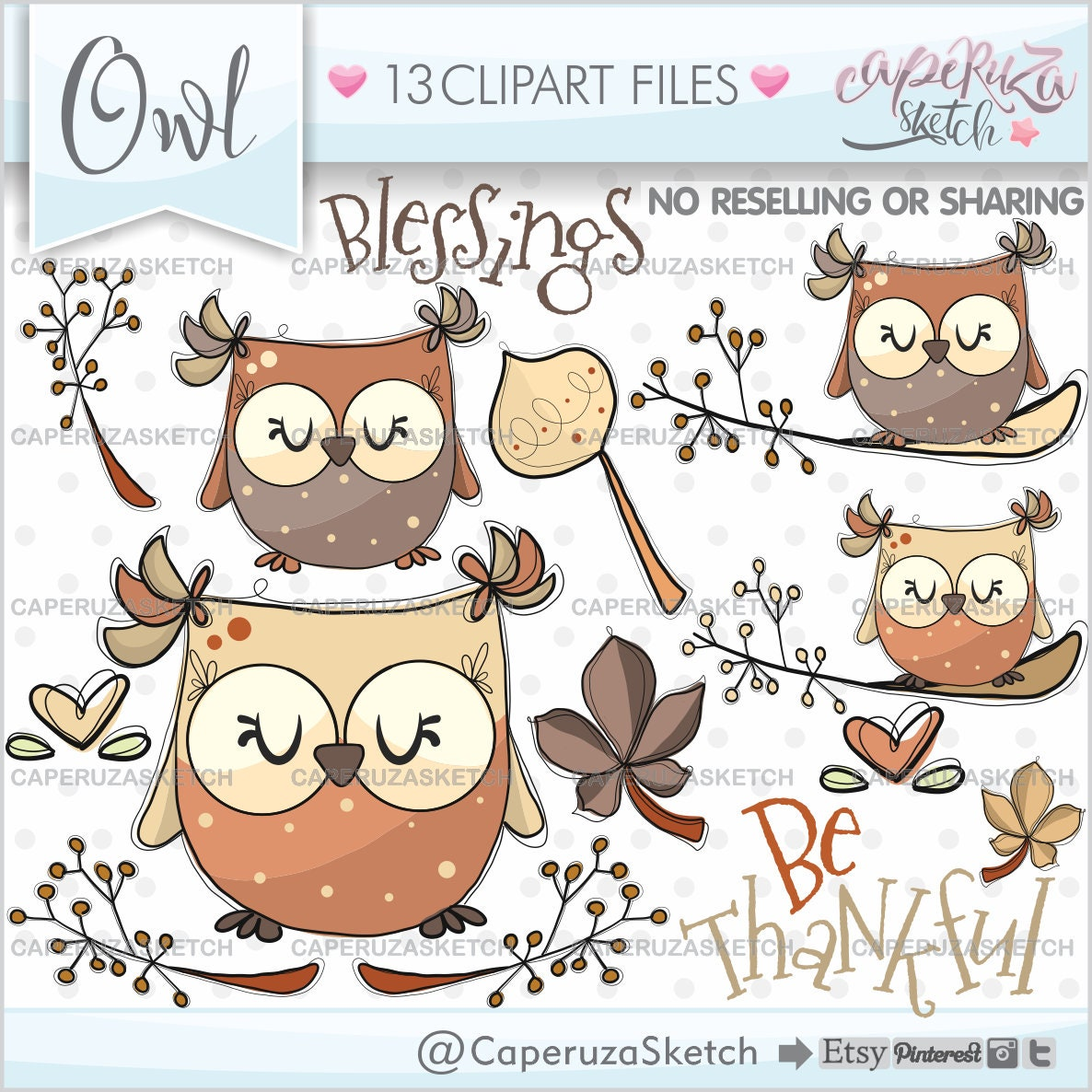 Owl Clipart Owl Graphics Autumn Clipart COMMERCIAL USE | Etsy