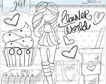 Planner Girl Stamp, Girl Digistamp, Digital Stamp, Digital Image, COMMERCIAL USE, Planner World, Coloring Page, Party Stamp, Planner Girl