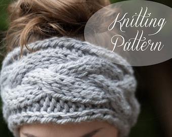 KNITTING PATTERN // Braided Cable Headband // Chunky Knit // Headband // Earwarmer // Beginner Knitter