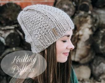 KNITTING PATTERN // Ashley Beanie // Slouchy Beanie // Seed Stitch // Beginner Pattern // Beanie Knitting Pattern // Beginner Knit Pattern