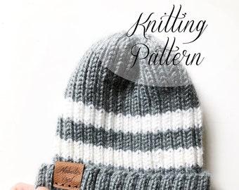 KNITTING PATTERN // Taylor Beanie // Ribbed Beanie // Beginner Knitter // Baby Hat
