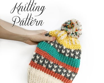 KNITTING PATTERN // Happy Scrappy Hat // Slouchy Beanie // Beginner Knitter