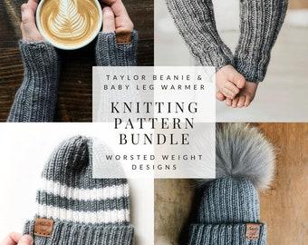 KNITTING PATTERN BUNDLE // Taylor Beanie & Baby Leg Warmer // Beginner Knitter // Baby Shower Gifts