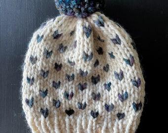 READY TO SHIP // Little Hearts Hat // Cream and Abalone // Pom Pom Hat // Pom Pom Beanie // Winter Hat // Women's Hat