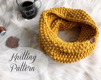 KNITTING PATTERN // Kate Cowl // Infinity Scarf // Seed Stitch // Beginner Pattern // Scarf Knitting Pattern // Infinity Scarf Pattern