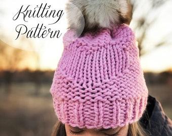 KNITTING PATTERN // Sweet & Simple Beanie // Valentine's Day // Beginner Knitter // Reversible Pattern // Heart Hat // Heart Beanie