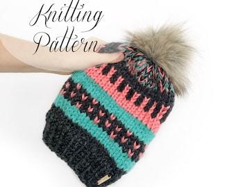 KNITTING PATTERN // Triple Threat Toque // Slouchy Beanie // Beginner Knitter