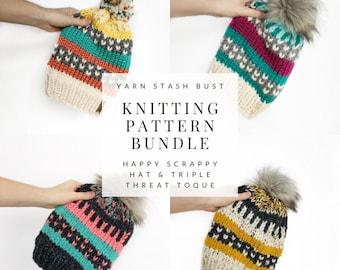 KNITTING PATTERN BUNDLE // Scrap Stash Bust // Happy Scrappy Hat & Triple Threat Toque Knitting Patterns // Winter Beanie // Slouchy Beanie