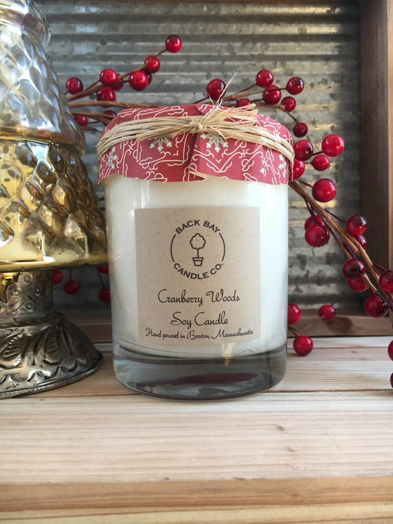 Hand Poured Cranberry Woods Pure Soy Candle in 8oz Tin Infused with Essential Oils