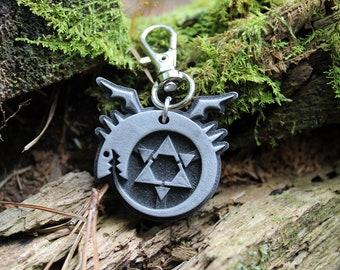 Full Metal Alchemist Ouroboros Symbol-Aluminum Keychain Necklace for FMA  Cosplay-Homunculi b4f3d638a