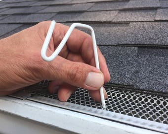 50 ct white christmas hook christmas light hanger for gutters with mesh leaf gutter guard