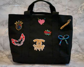 Black Tote Bag with Customized Patches & Pins