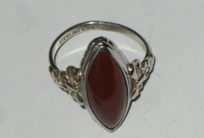Ring Solitaire Statement Ring Sterling Silver 925 10 Karat Gold Plated Vintage Clark Coombs Red Jasper Gem Stone Size 6.75 Ring Gift For Her