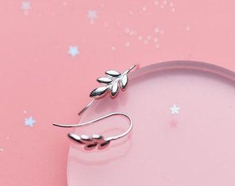 123d003eb Sterling silver leaf stud earrings - 925 stud earring - 925 real silver  earrings - playful silver earrings