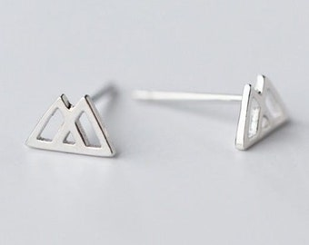 fd124ebe7 Sterling silver hollow triangle stud earrings - 925 stud earrings - 925  real silver earrings - playful silver earrings - double triangle ea