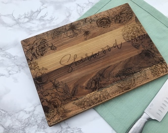 Custom Engraved Walnut Cutting Board with Stunning Florals / Personalized Gift For Mom / Wedding Shower for Peonies and Hydrangea Lover