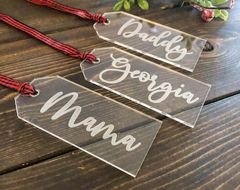 Custom Engraved Acrylic Stocking Tags with Buffalo Plaid Hanger / Personalized Christmas Stocking Name Tag / Custom Christmas Decorations