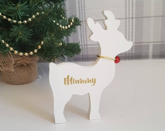 wooden reindeer reindeers personalised reindeer christmas ornaments family christmas reindeers mantle ornaments - Wooden Deer Christmas Decorations
