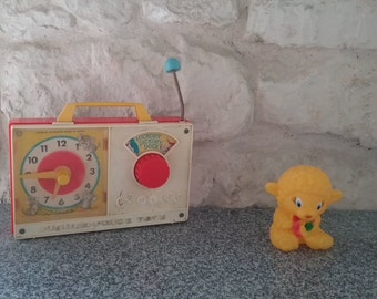 Toy Fisher Price musical Radio Vintage, Hickory Dickory Dock, 1964