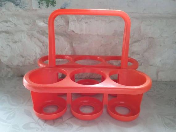 Porte Bouteille Vintage Pour 6 Bouteilles En Plastique Orange Etsy
