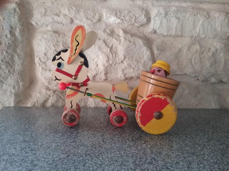 Old Toy To Shoot Donkey Drawing His Wooden Cart 1960 Game For Kids Vintage