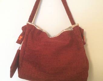 Deep red spacious tote bag