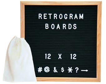 Black Felt - Oak Frame Retro Letter Board 12 x 12 inch with 300 White interchangeable letters and FREE letter bag