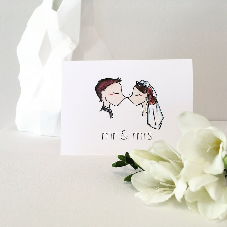 Mr /& Mrs   Original Illustration the kiss  Cute  Sweet  Couple