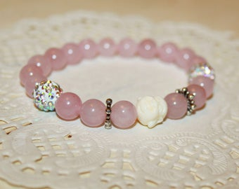 Buddha Yoga bracelet Stackable Spiritual Meditation bracelet Rose Quartz bracelet Pink string bracelet Gift for her Love bracelet Gemstone