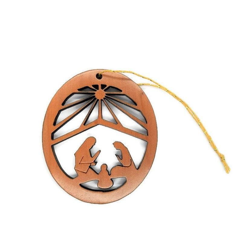 Nativity Christmas Ornament Handmade Wood Ornament Made in USA California Redwood