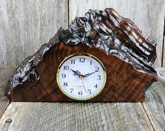 Redwood Burl Clock Table Shelf Mantle Desk Office Gifts for Men Sitting Wood #C