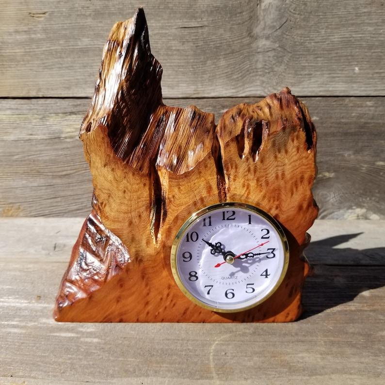 Wood Clock For the Desk or Mantel Handmade California Redwood Table Shelf Birthday Gift Wedding Gift Engagement Gift #219