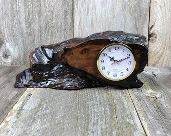 Redwood Burl Clock Table Shelf Mantle Desk Office Gifts for Men Sitting Wood #F