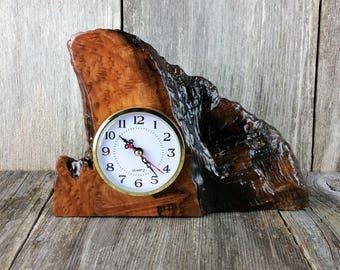 Redwood Burl Clock Table Shelf Mantle Desk Office Gifts for Men Sitting Wood