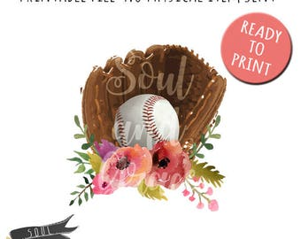 16ad9de2fcfb Baseball Glove with Flowers- INSTANT DOWNLOAD - PDF PNGPrintable