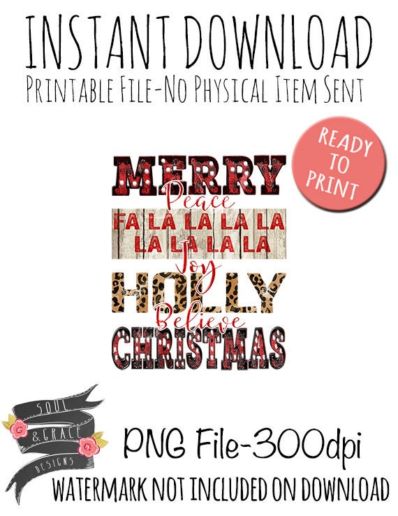 Merry Christmas Word Art Tee Shirt Design Instant Download Png Printable Sublimation Design