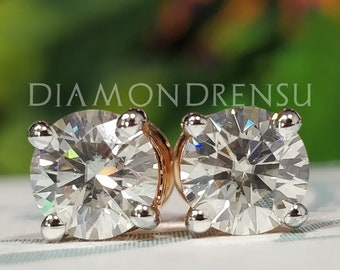 093dd2e41a04ad 1.50 tcw MOISSANITE EARRINGS - Round Brilliant cut with Rose Gold ,  Sterling Silver , fiery brilliance look