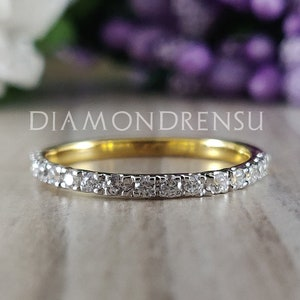 Solid Gold Anniversary Band Floating Bubble Prong Wedding Band 1.49 TCW Round Brilliant Cut Colorless Moissanite Band Full Eternity Band