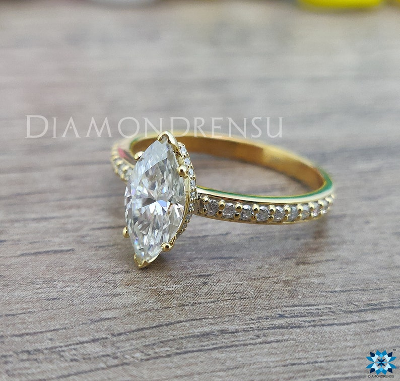 Marquise Colorless Moissanite Ring 6 Prongs Anniversary Ring Wedding Ring Solid Yellow Gold Ring 1.25 CT Marquise Engagement Ring