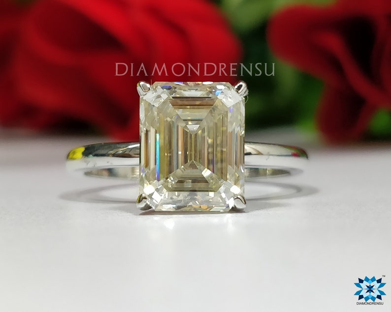 43a40b8cc4202 2.0 CT Emerald Solitaire Ring, Emerald Off White Moissanite Ring,  Engagement Ring, Solid Gold in 10KT, 14KT, 18KT or 925 Silver, Bridal Set