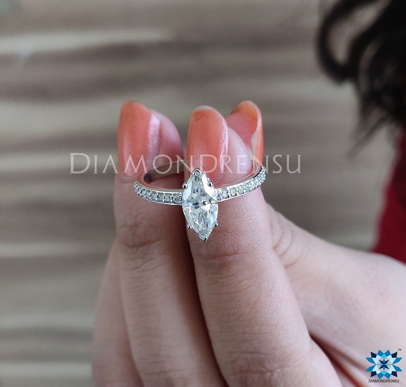 Marquise Near Colorless Moissanite Ring Gifther Solid White Gold Ring Marquise Moissanite Ring 1.25 TW Engagement Ring Wedding Ring