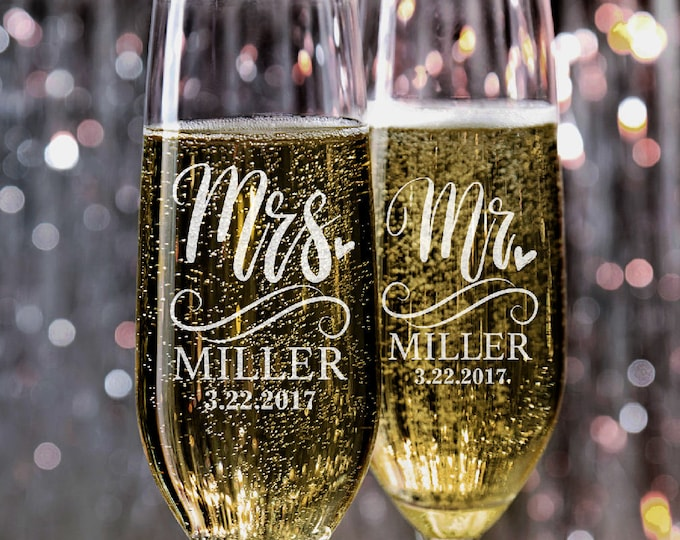 Featured listing image: Set of 2, Wedding Champagne Flutes, Mr and Mrs Personalized Champagne Glasses, Wedding Toasting Flutes, Wedding Favors, Gift for Couples #N5