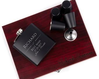 Groomsmen Gift, Flask Set with Rosewood Presentation Box - Groomsmen Flasks, Personalized Groomsmen Flasks, Flask For Groomsmen #3