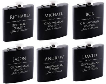 P Lab Set of 8 or Only 1 Groomsmen Gift - 6 oz. Personalized Flask Set - Groomsman Gifts Flask, Customized Flask Set | Wedding Flask Set - 1