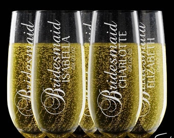 Bridesmaid Gifts, Groomsmen Gifts, any TITLE & QUANTITY - Personalized Champagne Flutes, Wedding Champagne Flute Set, Wedding Favors