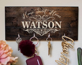 Personalized Key Holder for Wall w/ 12 Design, 3 Wood Options | Housewarming, Custom Key Ring Holder, Wedding Gifts for Couple, Christmas