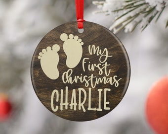 Baby's First Christmas, Personalized Baby Ornament for Girl & Boy 2020 Christmas Decoration Gift  - Ceramic or Aluminum w/ 8 Designs Options