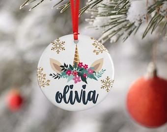 Christmas Ornaments, Girls w Unicorn, Flower or Dabbing Unicorn Designs, Customized 2020 Christmas Decoration Gift  - Xmas Ceramic, Aluminum