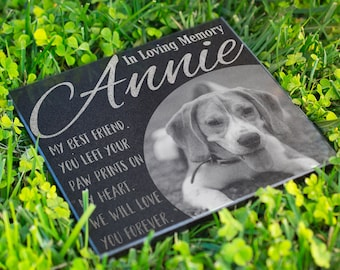 Personalized Memorial Pet Stone Granite - Engraved Headstone with YOUR Pets Photo, Burial Cemetery Stone, Grave Marker for Best Companion #1