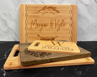 Personalize Cutting Board - Wood Engraved Custom Cutting Board, Wedding Gift, Housewarming Gift, Anniversary, Engagement, Christmas Gifts